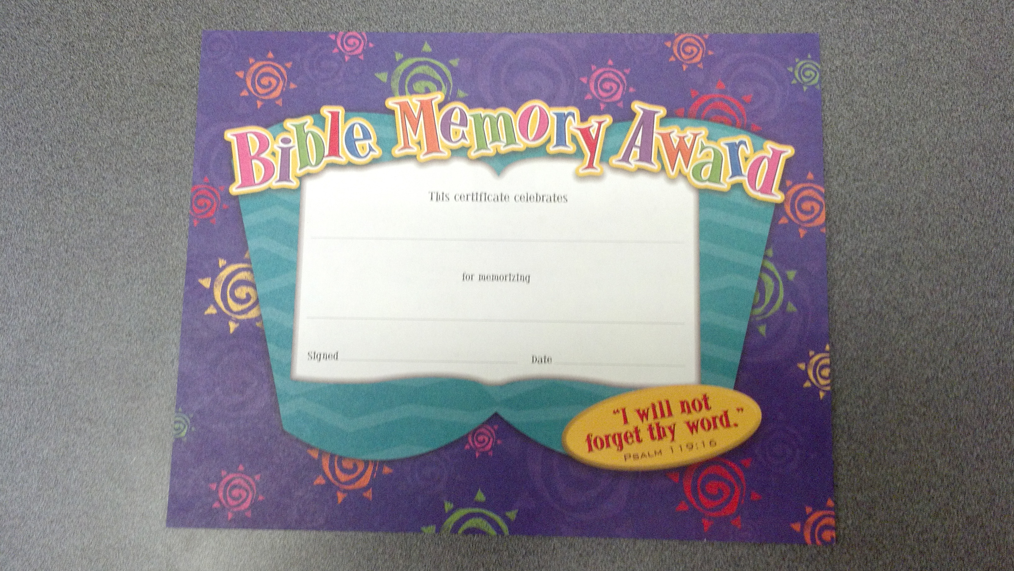 Image for Bible Memory Award Certificate (INDIVIDUAL)