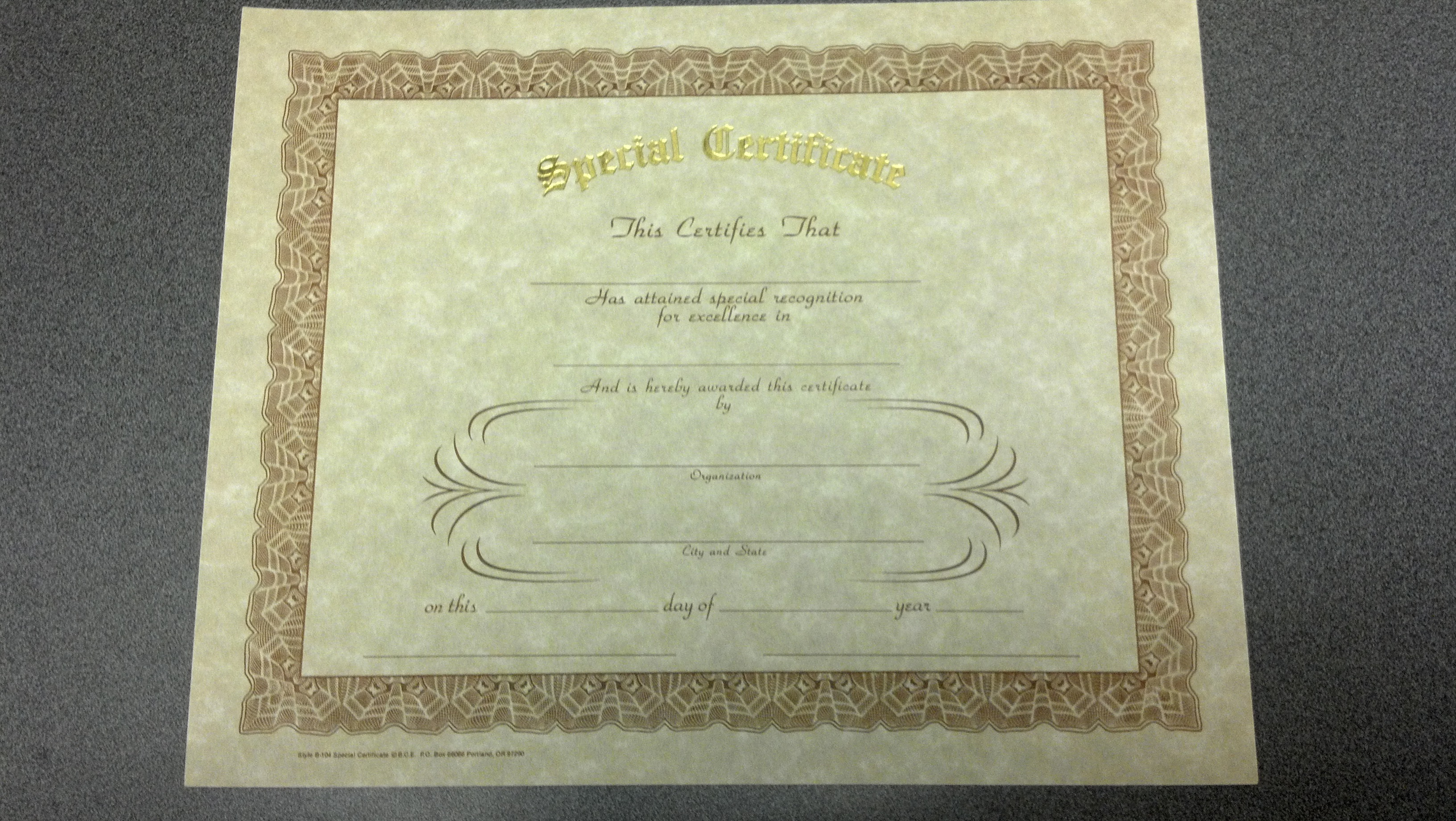 Image for Special Certificate - Gold Stamped (INDIVIDUAL)