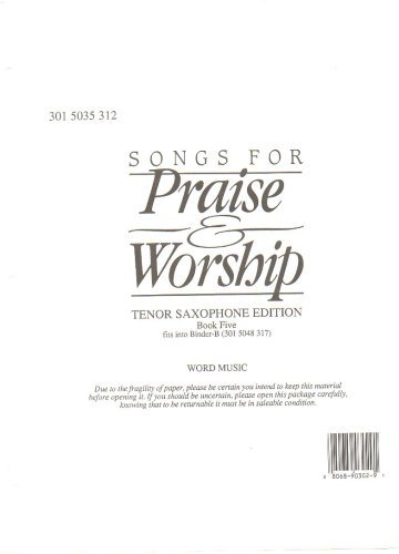 Image for Songs for Praise and Worship Tenor Saxophone Edition Bookfive